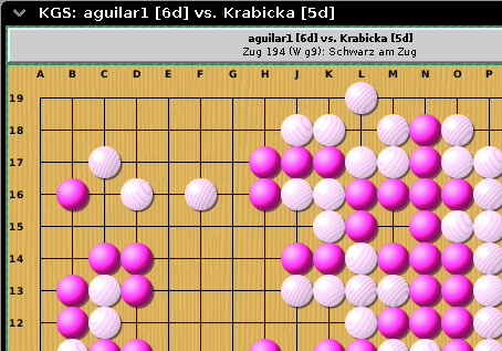 Board image, when online: black stones shown pink