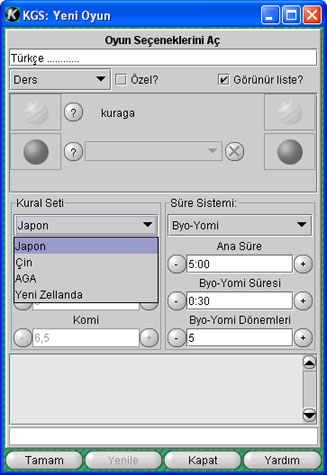 Image of ruleset selection menu