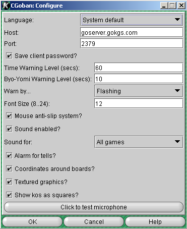 Screen shot of Preferences window